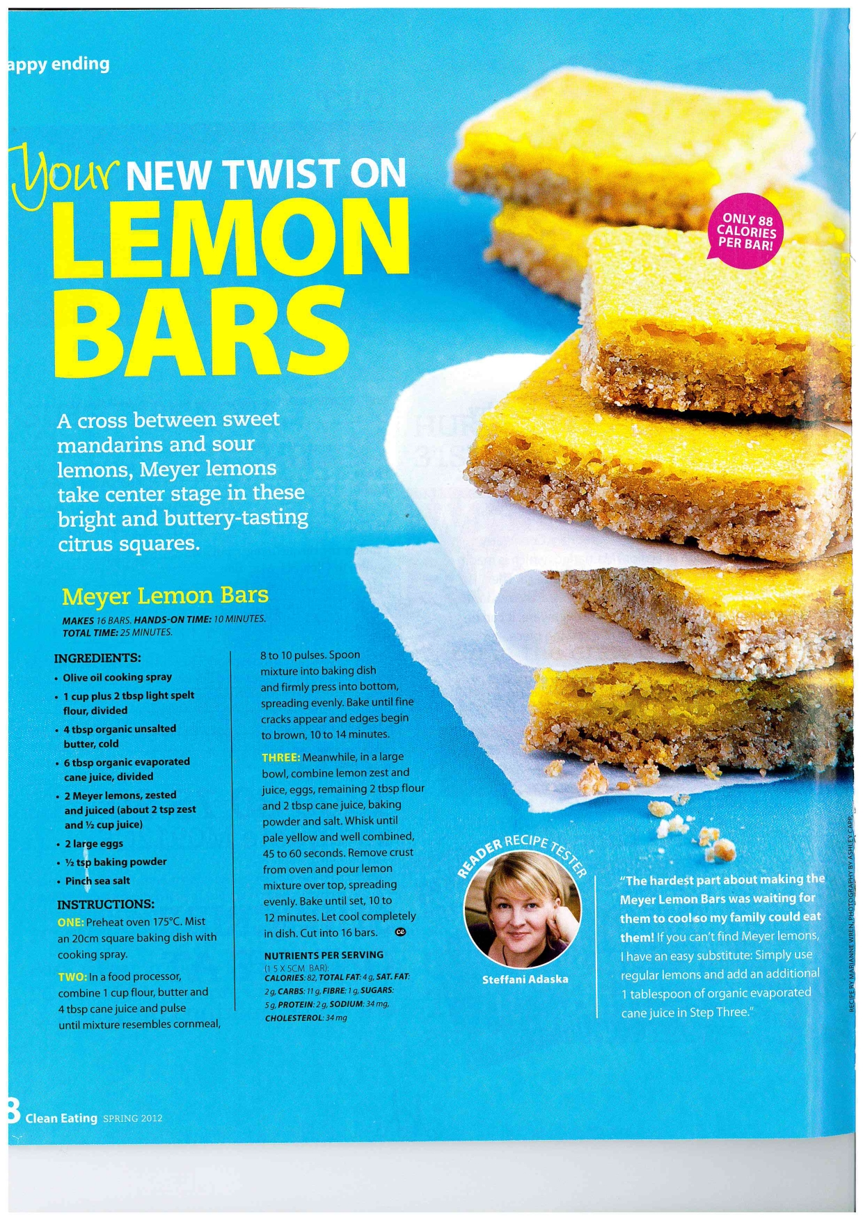 Clean eating eatmoveachieves blog lemon bars low cal snack from clean eating magazine forumfinder Images